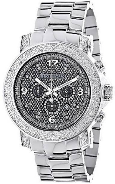 5d46947270bd Luxurman Silver 9729 Oversized Diamond Watches  LUXURMAN Mens Diamond Watch  0.75ct Watch - For