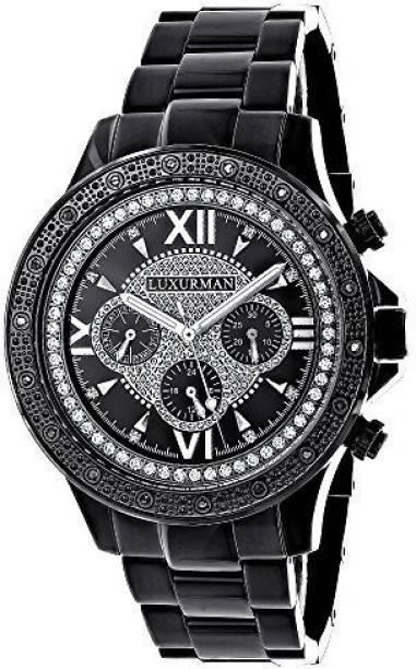 f1f4132f284 Luxurman Black12462 Mens Black Diamond Watch 0.20ctw of diamonds by Luxurman  Black Steel Band Watch