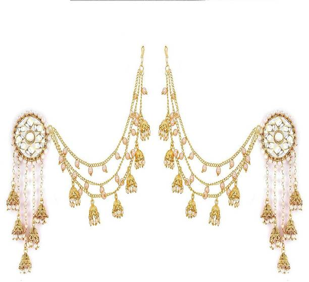 Zeneme Jewellery Traditional Stylish Gold Plated Polki & Pearl Bahubali Jhumki/Jhumka Earrings For Girls
