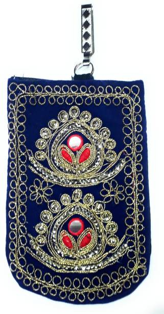 fe529a76bdf Unique Fashion Ethnic Blue Velvet Embroidered Raw Silk Saree Clutch /  Mobile Pouch with Waist Clip