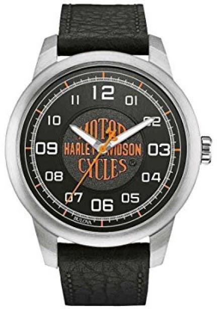 db14a984 Bulova black9375 Harley-Davidson Men's Bar & Shield Script Watch, Stainless  Steel/Leather
