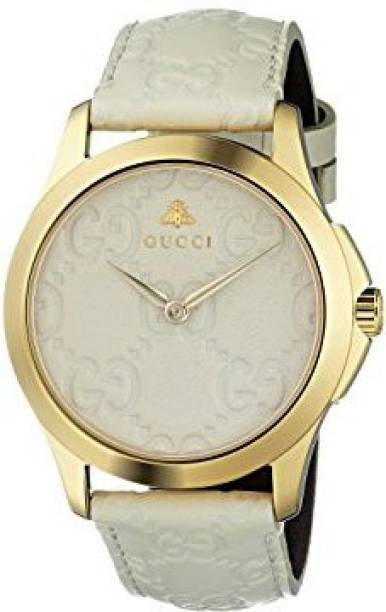 8570ed3c11b GUCCI white9399 Gucci Quartz Gold-Tone and Leather Casual White Watch(Model   YA1264033