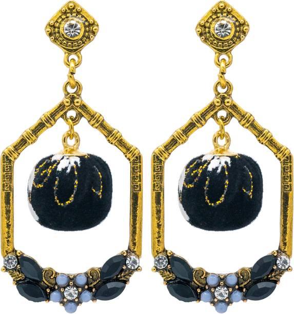 9f9be28df35f59 KIYARA Kiyara Accessories Bell Shaped designer velvet ball hanging stone  studded gold plated dangle and drop