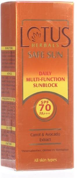 LOTUS HERBALS Safe Sun Daily Multi-Function Sunbock Sunscreen Spf 70 PA+++ (60g) - SPF 70 PA+++