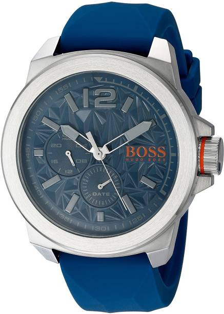 2a4d2979028 Hugo Boss Blue6892 BOSS Orange Men s  NEW YORK  Quartz Stainless Steel and  Silicone Casual