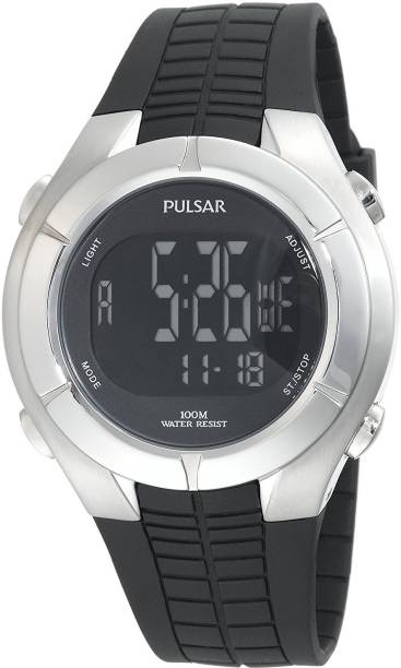 72cd31c30 Pulsar black8713 Pulsar Men's PR2003 Digital Chronograph Silver-Tone Black  Resin Strap Watch Watch -
