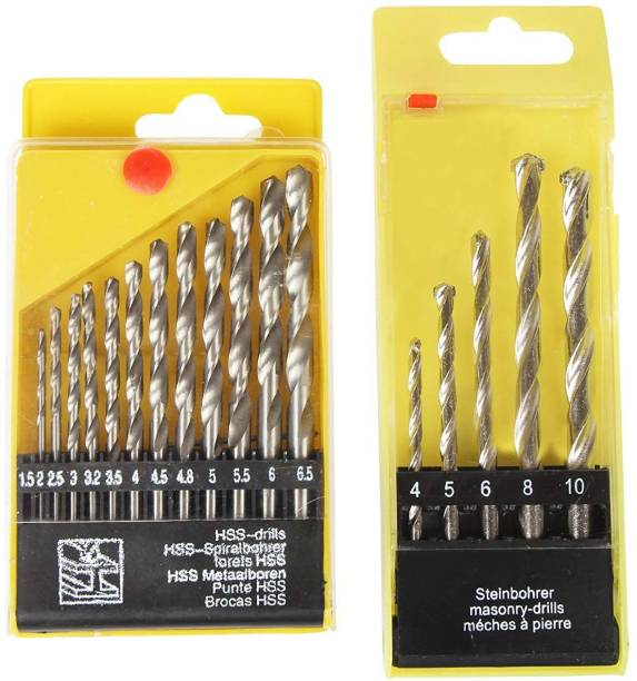 ISC Drill Bit Set Combo HSS 13 Pcs For Metal , Wood , Plastic & Masonary 5 Pcs Wall , Brick , Concrete 9 Jack's