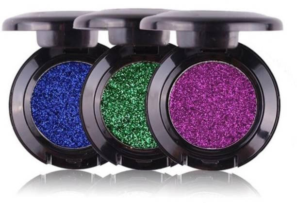 Out Of Box Imported Glitter Metallic Eye Shadow Cosmetics Pigment Warm Shimmer Eyeshadow Palette Makeup MRH (Pack Of 3)