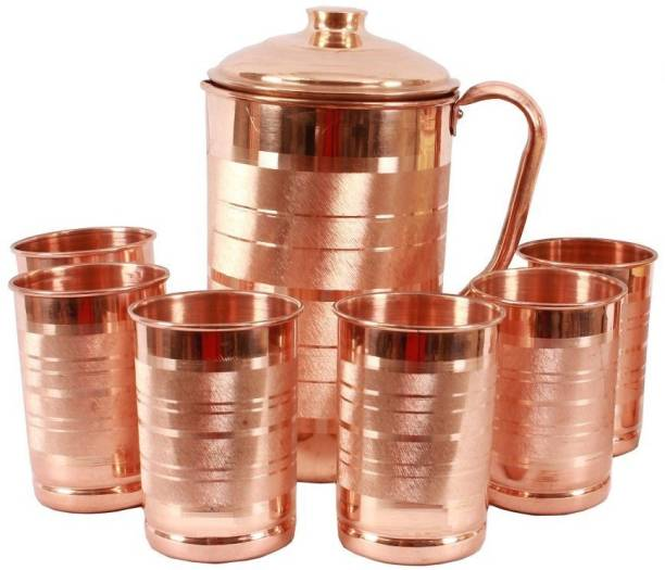 joco prime Copper Jug with 6 Copper Large Flate Glass Water Jug Set(1.7 L, SET of 7) Jug Glass Set