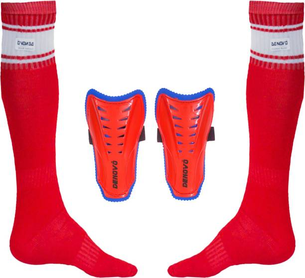 DENOVO Justry Football Kit (One Pair Poplin Plain Knee Length Football Socks + One Pair Shin Guard) Football Kit