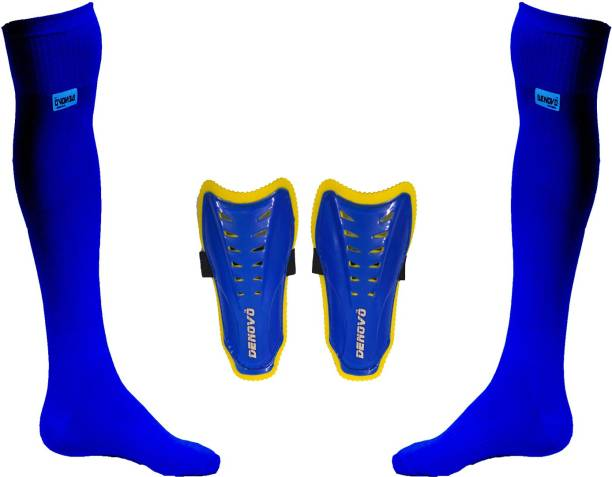 DENOVO Justry Football Kit (One Pair Lycra Plain Knee Length Football Socks + One Pair Shin Guard) Football Kit