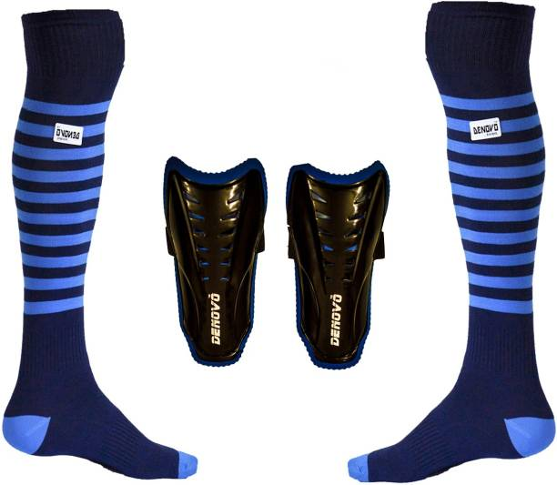 DENOVO Justry Football Kit (One Pair Lycra Striped Knee Length Football Socks + One Pair Shin Guard) Football Kit