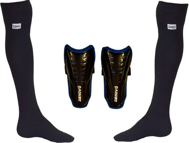 DENOVO Justry Football Kit (One Pair Lycra Plain Knee Length Football Socks + One Pair Shin Guard) Football Kit