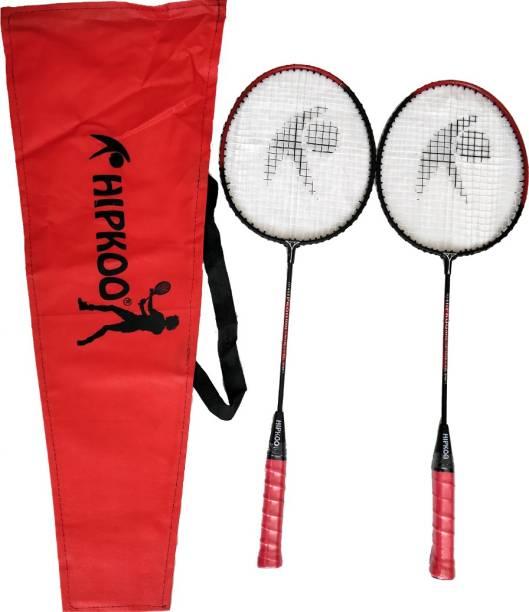 Hipkoo Sports TOUGH BADMINTON RACKET (SET OF 2) Red Strung Badminton Racquet