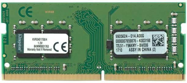 KINGSTON RAM DDR4 4 GB Laptop (2400Mhz Non-ECC CL17 SODIMM 1Rx8 PC Memory - KVR24S17S8 4)