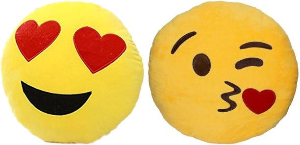 BABIQUE Smiley Emoji Pillow Cushion Soft Toys Stuffed Plush Combo Heart Eye & Flying Kiss For Sofa Bed Home Office Car Decoration Birthday Gift  - 35 cm
