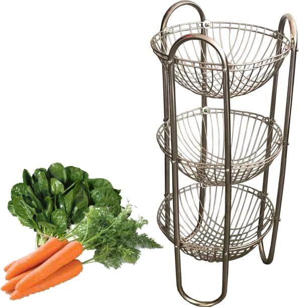 Kuber Industries Stainless Steel Three Tier Fruits U0026 Vegetables Round  Trolley/ Multipurpose Kitchen Storage Shelf