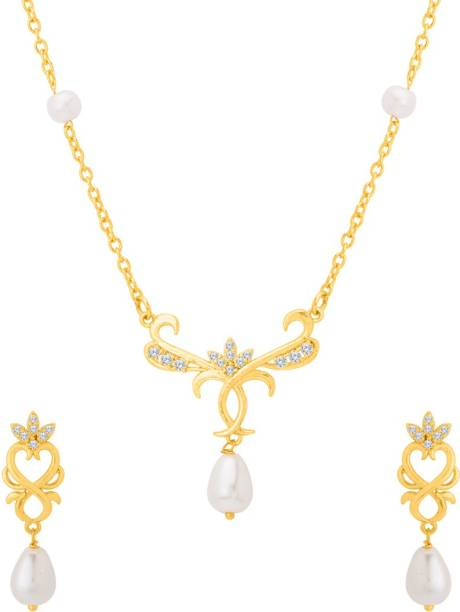 a9ee95cec Voylla Baroque Pearl Elegant Long Necklace Set Pearl Gold-plated Plated  Brass Necklace Set