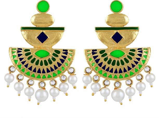 aa4bb63a083 Asmitta Jewellery Charming White Stone Gold Plated Dangle Earring For Women  Zinc Drops   Danglers