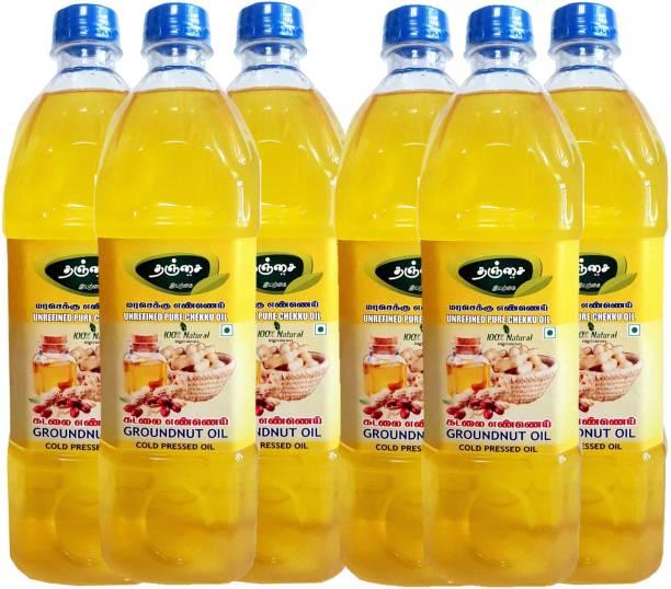 THANJAI NATURAL COLD PRESSED GROUNDNUT OIL 100% NATURAL 1 X 6 BEST OFFER Groundnut Oil Plastic Bottle