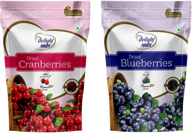 Delight nuts Berries Combo Pack - Dried Cranberries 200gm & Dried Blueberries 150gm Cranberries