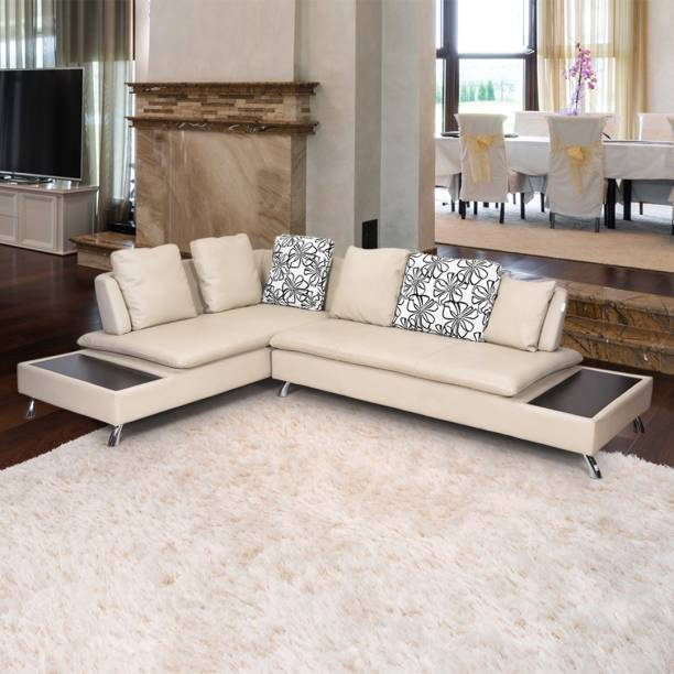 Royaloak Aster Leather Sectional Beige Sofa Set