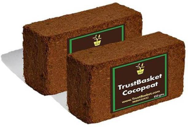 TrustBasket Coco Peat Block (Set Of Two 650grm Blocks)-Expands To 16 Liters Of Coco Peat Powder Manure