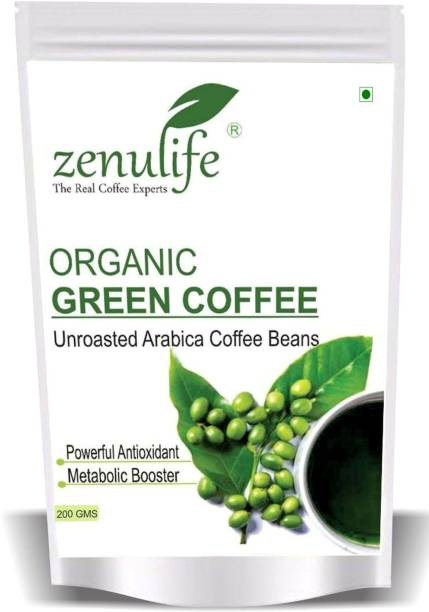zenulife Organic Green Coffee beans for Weight Loss (Unroasted Coffee Beans) - 200 GM Instant Coffee