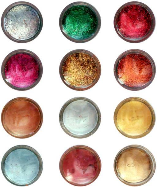 VOZWA Eye Shadow shimmer Powder and Glitter Powder (Pack of 12 Pcs)