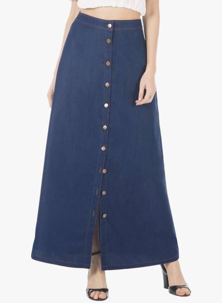 Faballey Solid Women A Line Blue Skirt