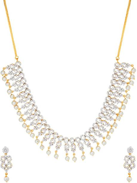 a7274f4057fa Voylla Pearl with CZ Necklace Set with Gold Plating Pearl Gold-plated  Plated Brass Necklace