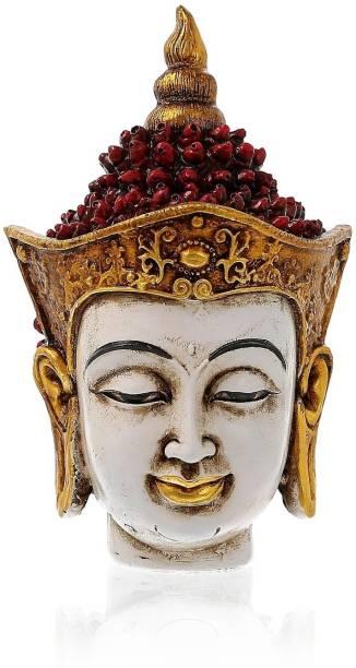 AapnoCrafts Golden And Red Handcrafted Gautam Buddha Decorative Showpiece  -  17 cm