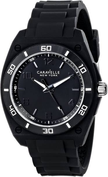 1f014a313 Bulova Black12384 Caravelle New York by Bulova Men's 43A127 Analog Display  Japanese Quartz Black Watch Watch