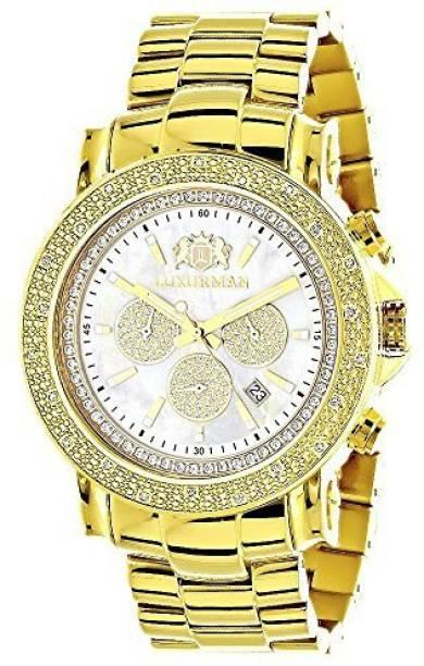 1778b8ba5d1 Luxurman White19233 Large LUXURMAN Mens Watch with Diamonds 0.25ct Yellow  Gold Plated Escalade Watch -