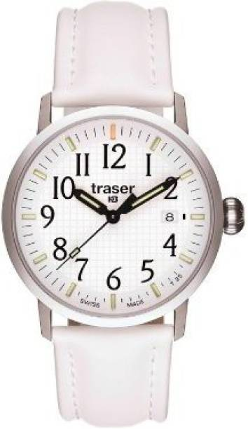 321ade18280 Traser white5121 Traser Classic Basic Watch with Leather Strap - White Watch  - For Men