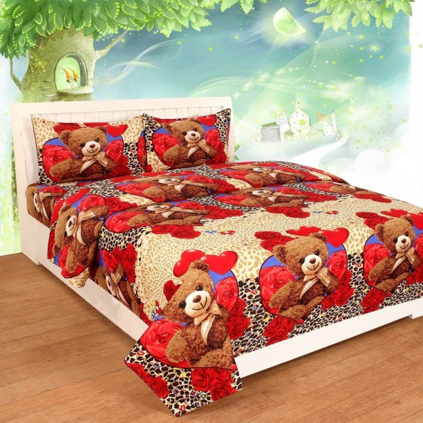Home Pictures 145 TC Microfiber Double Cartoon Bedsheet
