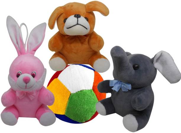 Natali Traders Stuffed Soft Toy Combo Of 4 Puppy Elephant Rabbit And Ball