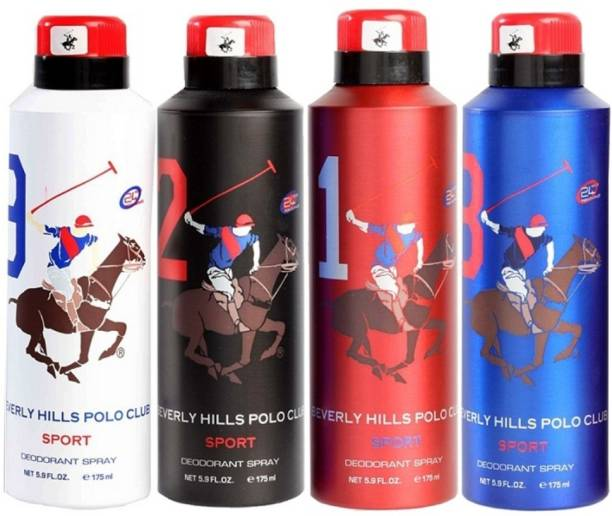 BEVERLY HILLS POLO CLUB Sport deo 1,2,8,9 Pack of 4(175 ml each) Deodorant Spray  -  For Men