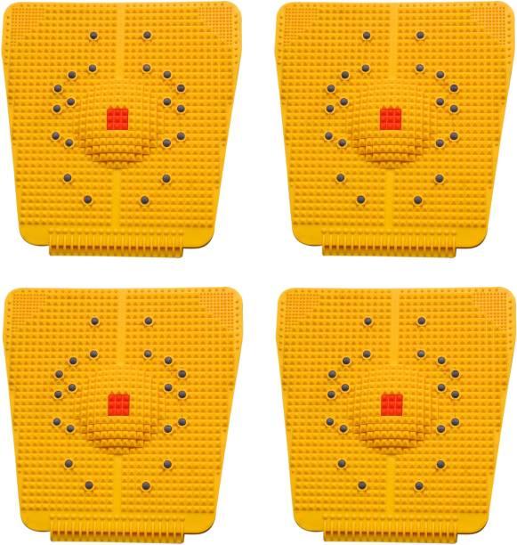VIVAAN Set of 4 Acupressure Massager Mat Relieve Stress Pain Acupuncture Massager (Yellow) Yellow 6 mm Accupressure Mat