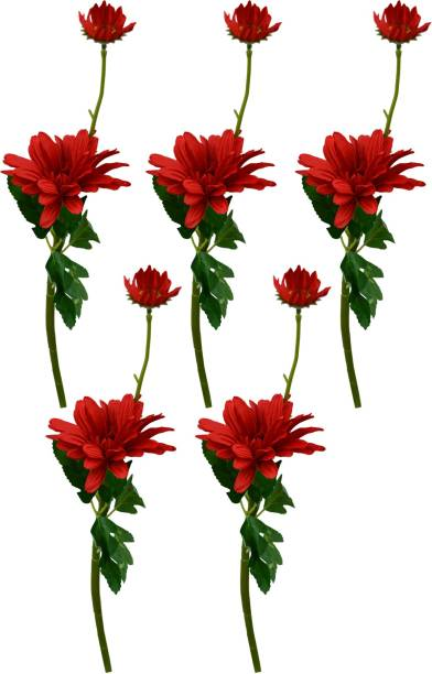 DecoreBugs Touch feel Gerbera Flower sticks Red Wild Flower Artificial Flower