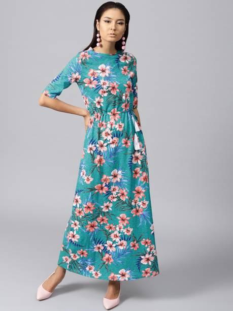 SASSAFRAS Women Maxi Blue, Orange Dress