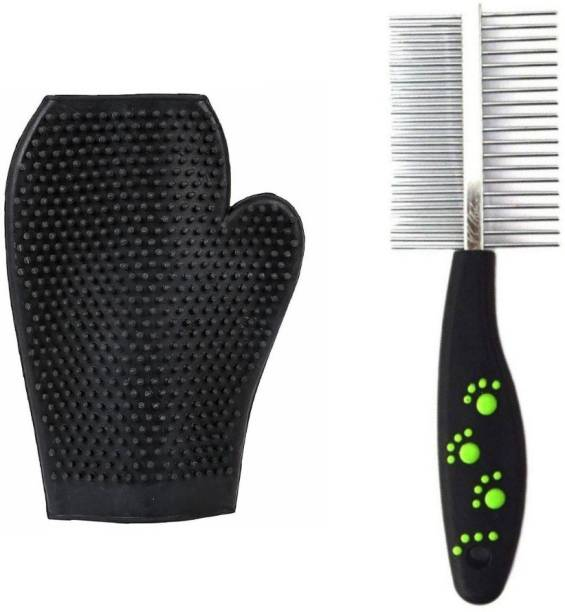 Pet Needs High Quality Double Sided Pet Comb Stainless Steel Pin Dog Grooming Brush With Grooming Gloves Wire-pin Brushes for  Dog