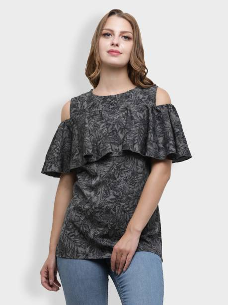 c014a8db0014 Cottinfab Casual Half Sleeve Printed Women s Black Top