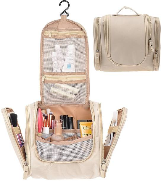 f28135415c46 House of Quirk Beige Cosmetic Makeup Bag Toiletry Kit Bathroom Organizer  Storage Travel Toiletry Kit