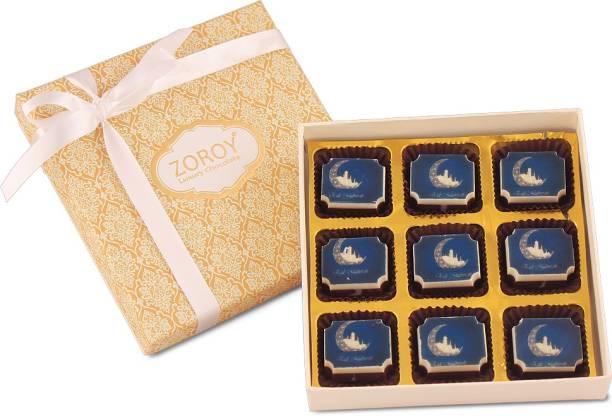 zoroy luxury chocolate Ramadan Gift box of 9 eid mubarak milk and white chocolate Fudges