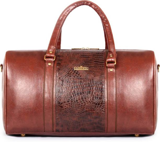 The Clownfish Roadster Leatherette 27 Ltr Brown Travel Duffel Travel Duffel  Bag 4d34dc6ca7454