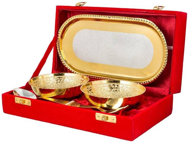 Being Nawab Two Toned Classic Tray, Bowl, Spoon Serving Set