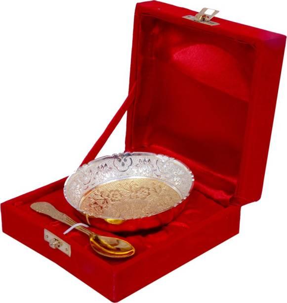 Odna Bichona Odna Bichoan Silver And Gold Plated Brass Bowl Bowl, Spoon Serving Set