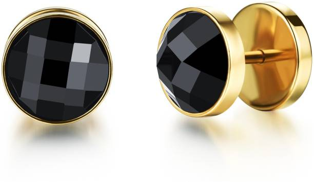 Yellow Chimes Black Crystal Stainless Steel Stud Earring
