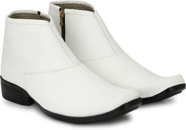 Shoe Island ® POPULAR Chelsea-X ™ White Leatherette Zipper High Ankle Length Casual Chelsea